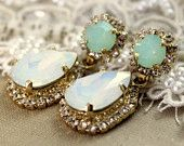 Crystal mint opal earring - 14k plated gold  earrings real swarovski opal mint and white  rhinestones .