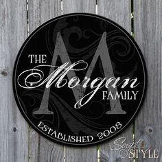 Personalized wood last name sign with established date and monogram