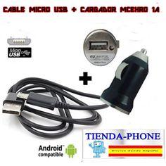 Cargador mechero coche con cable USB negro 1A para movil Android 12-24v 1000mA
