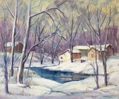 Emabelle Flanagan - Pond in Winter | From a unique collection of landscape paintings at http://www.1stdibs.com/art/paintings/landscape-paintings/
