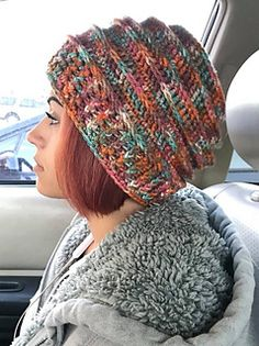 This is a pattern I designed because I love the look of a slouch hat, and I finally got it to work so that it has the perfect amount of slouch (and it looks awesome too!!) I chose to use Hobby Lobby's I Love This Yarn, but you can use any variegated or solid yarn in worsted weight (size 4) yarn. I use a K/10 6.5mm hook. You will need one 5oz (252 yards) skein.