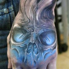 Cool Hand Tattoo Designs For Guys - Skull
