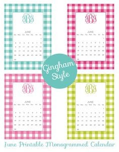 June Monogrammed Printable Calendar by ForChicSake.com - click to create and download your own