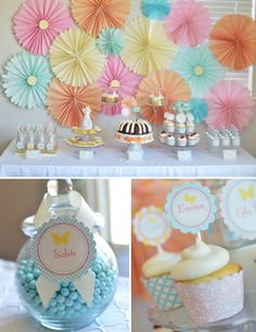 Sweet first birthday girl party pink teal cream