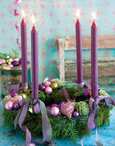 Candles for Advent. We light one for each Sunday before Christmas Christmas Advent Wreath, Christmas Table Decorations, Christmas Themes, Christmas Crafts, Advent Wreaths, Purple Christmas, Coastal Christmas, Advent Candles, Pink Candles