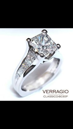 it is perfect setting to showcase your diamond in this timeless and elegant engagement ring. I don't think I want something this gigantic, but holy smokes, this is amazing. Unique and modern, I love it!I don't think I want something this Verragio Engagement Rings, Elegant Engagement Rings, Wedding Rings, Ring Engagement, Verragio Rings, Princess Cut Engagement, Pretty Rings, Beautiful Rings, Bling Bling