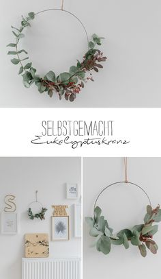 DIY eucalyptus on the wall sanvie.de - DIY X-MAS / Weihnachten Dekoration - Last year my favorite Christmas decoration was made of eucalyptus – do you remember the garland? Christmas Time, Christmas Crafts, Christmas Decorations, Xmas, Corona Floral, Diy Wand, Fleurs Diy, Navidad Diy, Eucalyptus