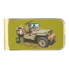 Willys World War Two Army Jeep Gold Finish Money Clip