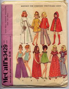 70s Vintage Hippie Boho Barbie Fashion Doll Clothes Wardrobe Sewing Pattern McCall's 3429--Wrap Pants, PEASANT DRESS, Hooded Cape, Wedding. $9.95, via Etsy.