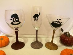 Halloween Glass Set, Halloween Party Decor, Bubbling Cauldron Martini Glass, Witch Hat Glass, Halloween Cat, Champagne Flute, Gothic Wedding
