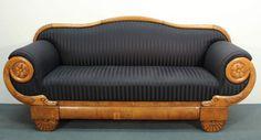 Sofa, Biedermeier, um 1830, Kirschbaum, schwarzer Streifenbezug, neu aufgepolstert und bezogen, 220