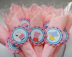 Peppa Pig Party theme. party utensils. birthday party school play. kids. dinner. utensils, napkins and ring holder ..SET OF 12.