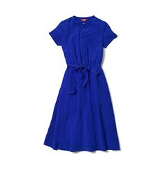 I bought this dress in magenta. I love the way it feels and looks. It's the perfect spring and summer dress. I spilled my dinner on it the first night wearing it and the butter stains came out. Thank you for coming to NYC with your bright colors and reasonable prices, Joe Fresh!