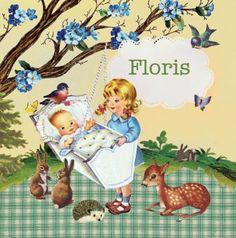 retro Geboortekaartje Floris voor een tweede kindje - Petit Konijn