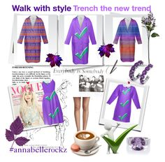 """""""Trench the new trend"""" by annabelle-h-ringen-nymo ❤ liked on Polyvore featuring Sur La Table, purple, dress, sweatshirtdress and annabellerockz"""