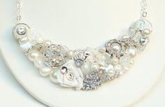 White Bib NecklaceWhite Statement necklace by BrassBoheme on Etsy, $75.00