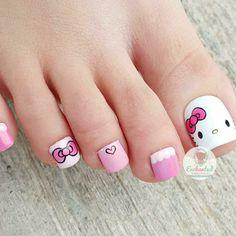 Trendy Nail Art, Cute Nail Art, Nail Art Diy, Pretty Toe Nails, Cute Toe Nails, Nail Art For Kids, Hello Kitty Nails, Stiletto Nail Art, Red Nail Designs