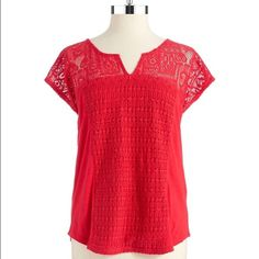 """NWT Lucky Brand Lace Patchwork Top NEW WITH TAGS -- This stunning red top will turn heads while keeping you comfy! The front panel of embroidered lace textures a slubbed jersey top with another, delicately sheer lace pattern at the feminine split-neck yoke and sleeves. 30"""" long, 24.75"""" bust (measurements taken flat) 100% cotton. Machine wash cold, tumble dry low. By Lucky Brand -- Size 3X or 2X Lucky Brand Tops"""