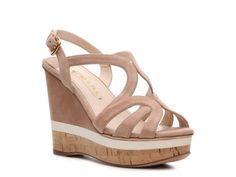 Prada Suede Cutout Wedge Sandal