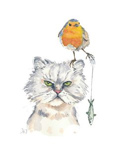 Cat Robin Watercolor Painting Original by WaterInMyPaint on Etsy