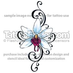 tribal orchid tattoos | TattooFinder.com : Tribal Star Orchid tattoo design by Gail Somers