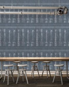 Colonnade Blue Wallpaper by Mind The Gap - joyfulwallpapercompany.com