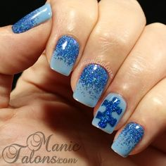 Blue on Blue for Autism Awareness  | Check out http://www.nailsinspiration.com for more inspiration!