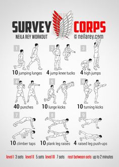 Survey Corps Workout For More Health And Fitness Tips Visit Our Website Corps Fitness, Sport Fitness, Yoga Fitness, Fitness Tips, Neila Rey Workout, Mma Workout, Kickboxing Workout, At Home Workout Plan, At Home Workouts