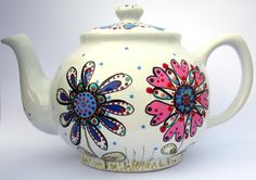 Bright hand-painted 6 cup flower and spots teapot on-glaze ceramic paint by HandmadebyFoote on Etsy