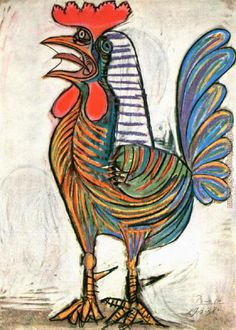 All Picasso Art | Pablo Picasso Paintings - Pablo Picasso The Cock 1938 Painting