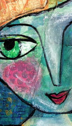 Painting Of Girl, Girl Paintings, Face Art, Art Faces, Art Journal Pages, Art Journals, Gelli Plate Printing, Gelli Arts, Cool Art