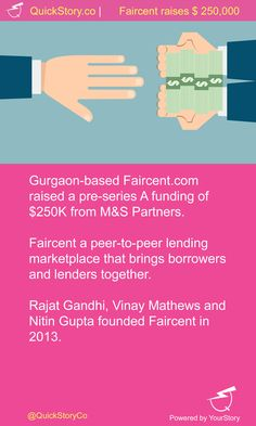 In June 2015, Faircent raised a pre-series A funding of $250K from M&S Partners.