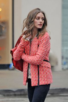 Coral Crush: Coral via La Dolce Vita | Olivia Palermo in a Coral Jacket Bouncle jacket- polished perfection