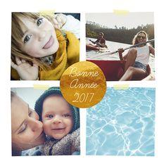 Carte de voeux photos pour raconter votre année et souhaiter une super nouvelle année avec cette jolie pastille dorée au centre. Racontez vos plus souvenirs avec cette création Popcarte.