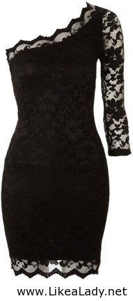 Black lace one-sleeved dress