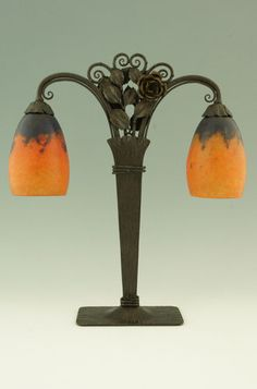 Art Deco Daum Nancy signed table lamp with wrought iron base France 1920.