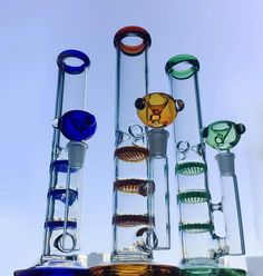 """Colorful Straight Tube 11"""" Glass Bong Glass Smoking Pipes, Glass Pipes, Water Bongs, Glass Bongs, Oil Rig, Honeycomb, Rigs, Colored Glass, Bongs Online"""