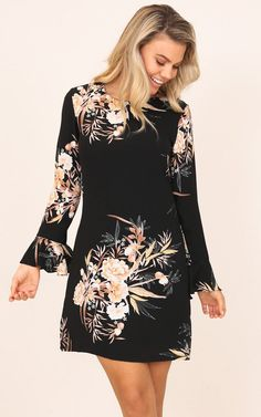 Showpo Here For Success shift dress in black floral - 14 (XL) Work Burgundy Midi Dress, Date Night Dresses, Black Strappy Heels, Affordable Dresses, Business Dresses, Cold Shoulder Dress, Style Inspiration, Stylish, Floral