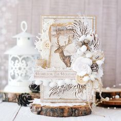 Handmade by Aleksa Kras: Greeting card with deer and gift bag)