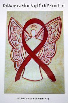Blood Cancer Red Awareness Ribbon Guardian Angel Art Postcards (10 Pack)