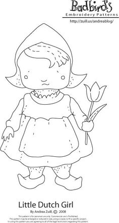 Little Dutch Girl......free embroidery pattern.  She needs to smile :O)