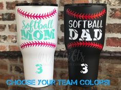 Softball Mom and Softball Dad RTIC 30 ounce Tumblers are a great way to stay hydrated during the game! Our RTIC Tumblers are stainless steel and double wall vacuum insulated. Keeps your drinks ice cold longer - works great for hot beverages. The included all-new shaded Splash Proof lid