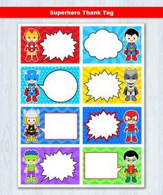 Superhero Favor tags Super hero Thank you Tags Superheroes image 1 Superhero Thank You Cards, Superhero Party Favors, Superhero Gifts, Superhero Birthday Party, Thank You Labels, Thank You Tags, Party Favor Tags, Card Tags, Blank Cards