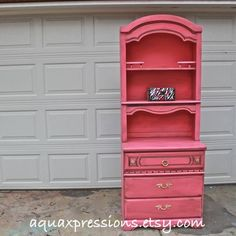 Pink Dresser Hutch /Dresser /Distressed /Shabby Chic /Upcycled. $199.00, via Etsy.
