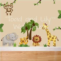 Jungle animal safari wall decals girls or boys bedroom baby Jungle Theme Nursery, Baby Nursery Art, Baby Nursery Themes, Nursery Wall Decals, Baby Bedroom, Baby Boy Rooms, Baby Boy Nurseries, Baby Decor, Kids Decor