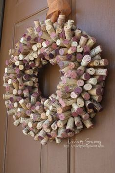 Top 10 Christmas Wreath Ideas - including this cork wreath!  eclecticallyvintage.com