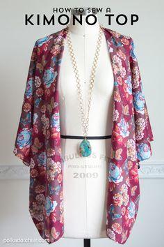 How to sew a cute Kimono Jacket - by Melissa Mortenson of polkadotchair.com