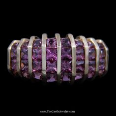 Gorgeous Vertical Channel Set Square Pink Tourmaline Ring in Yellow Gold