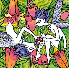 Two tooth fairies sharing their treasure #illustration #watercolor #marker #couple #beautifulcouple #upsidedown #color #2018calendar Tooth Fairy, Beautiful Couple, Fairies, Markers, Calendar, Graphic Design, Watercolor, Illustration, Animals