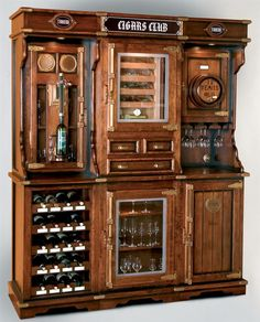 Unique cigar and wine cabinet with a humidor is part of Unique Bar cabinet - A unique cigar and wine cabinet with a humidor for up to 400 cigars Home Bar Rooms, Diy Home Bar, Bars For Home, Bar Furniture For Sale, Home Bar Furniture, Furniture Ideas, Design Furniture, Furniture Stores, Modern Furniture